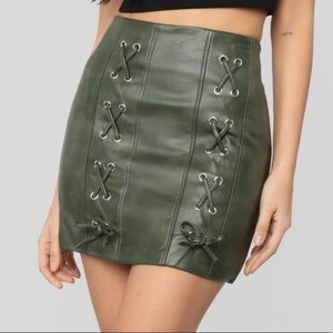 Olive Green Lace Up Front Skirt